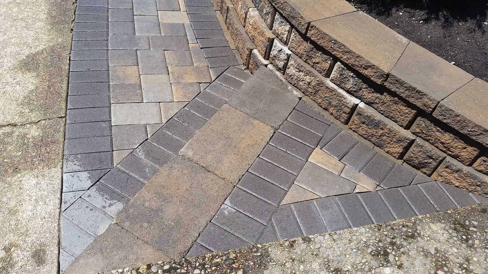 Retaining walls made out of brick pavers or natural stone with pathway Pavers in Portland