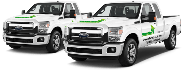 Garcia's Landscape Maintenance, LLC Company trucks with logo signs on the hood and side doors 100% Satisfaction Guaranteed seal Landscape maintenance, lawn care, shrubs trimming, hedges, pavers installation, yard clean up