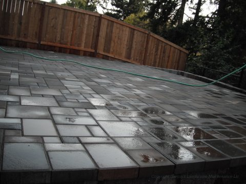 Back patio made out of concrete pavers. Perfectly alined forming an aesthetically pleasing pattern. Wooden fence in the back.